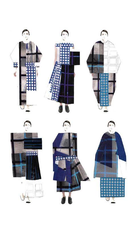 Fashion Sketchbook - grid print dresses; fashion illustrations; fashion portfolio // Gina Atkinson