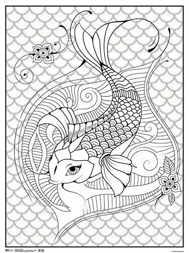 Art Zone Koi Fish Coloring Poster 18x24 Trends Rpaz303 Coloringposterlineart Koi Fish Colors Koi Fish Koi