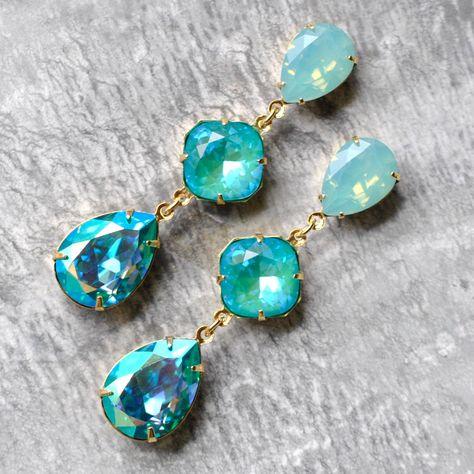 🐕 Big deals! Turquoise Opal Crystal Earrings, Swarovski Crystal Blue Opal Laguna Delite Aquamarine Rainbow Mist Earrings,Fiesta Earrings, Stud or Clip on only at $74.50 Hurry. #FiestaEarrings #AquamarineEarrings #TurquoiseEarrings #SwarovskiEarrings #TurquoiseJewelry #GiftForWomen #RhinestoneEarrings #CrystalEarrings #ClipOnEarrings #SwarovskiDangles