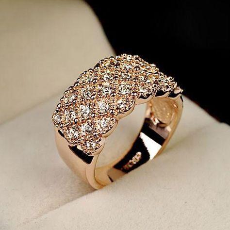 Barato Italina Rose Banhado A Ouro Aneis De Casamento Para