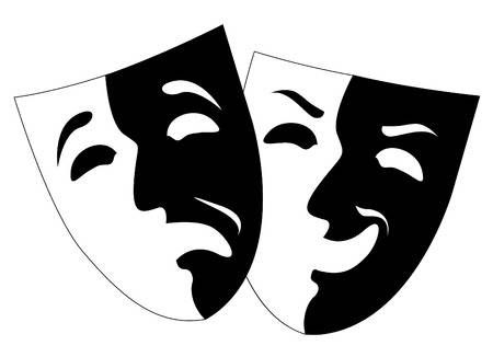 Theatre Black And White Emotion Masks Vector Comedy And Tragedy Theatre Faces Theatre Masks
