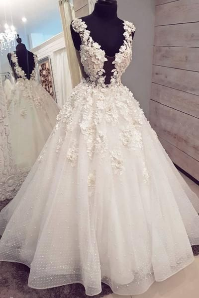 White Tule 3d Lace Applique Long Halter Pearl Prom Dress White Wedding Dress Ml2639 Ball Gowns Wedding Bridal Ball Gown Boho Wedding Dress Lace