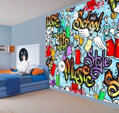 Teenager Music graffiti sketch doodle wallpaper photo wall mural ...
