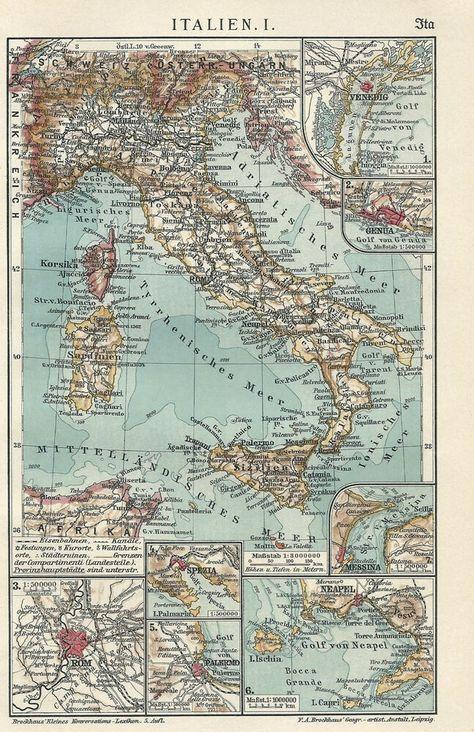 1911 Italien Alte Landkarte 2 Textseiten Karte Antique Map