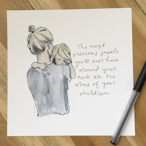 Precious Jewels - Watercolor Print of Mother and Child — Laura Miller Studio