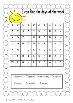 Calendar Time In 2020 Days Of The Week Activities