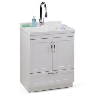 Wyndenhall Janine Transitional 28 Inch Laundry Cabinet With Pull Out Faucet And Abs Sink 27 8 W X 50 75 H X 22 1 D Laundry Cabinets Pull Out Faucet Faucet