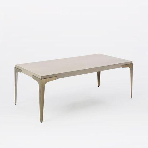 Brass Concrete Coffee Table West Elm Uk Mesas