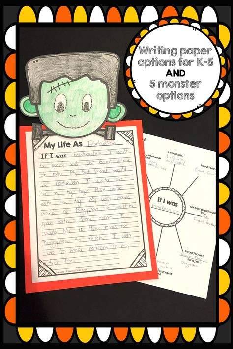 halloween craft for k 5 this craft includes writing and a planning web to help your students write about if they were frankenstein a witch a mummy