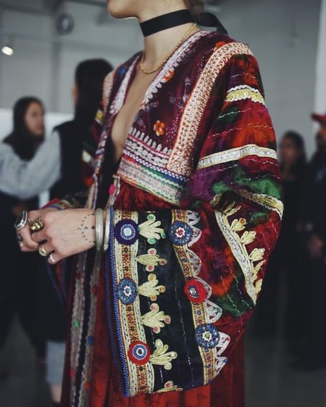 $500 Cool Rainbow Coloured Multicoloured Tribal Mirror Patterned Striped Embroidered Detail Flare Sleeved Jacket Summer Spring Runway Haute Couture Fashion Trends