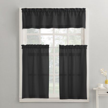 Mainstays Solid 3 Piece Kitchen Curtain Set Black In 2021 Kitchen Curtains French Country Kitchens French Country Bathroom