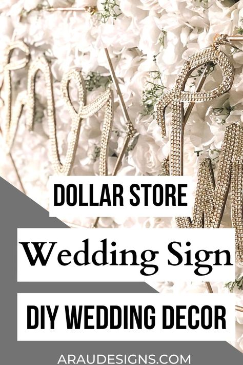 Eye-catching DIY Wedding Decor Sign Made From Dollar Store Items by AraUDesigns DIY Crafts for Wedding, Baby and Home Decor. For my soon to be Mr and Mrs, Mr and Mr, and Mrs and Mrs! Try this Dollar Store DIY for your DIY wedding! Decorate your wedding head table, chairs or photobooth with this gold geometric sign. Use it in your future home. Place it in your bedroom or as a decorative accent for a table. Visit AraUDesigns.com for details! #araudesigns #diywedding #wedding #diy #weddingdecor