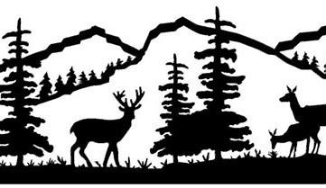 Pine Tree Branches Forest Moose Winter Silhouette Wall Decal Sticker Nature Woods Scene
