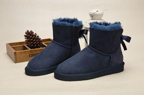 UGG Women Navy Blue Classic Mini Bailey Bow Corduroy Boots