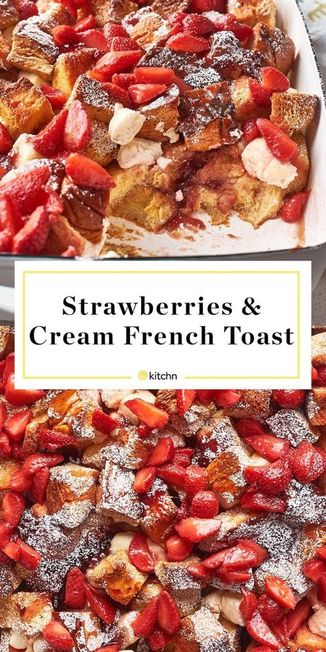Strawberries and Cream French Toast Casserole Recipe: Strawberries & Cream French Toast Casserole Tostadas, Pain Perdu Simple, Strawberry French Toast, Strawberry Jam, Strawberry Breakfast, Blueberry French Toast Casserole, Stuffed French Toast Casserole, Breakfast Casserole French Toast, Cinnamon Roll French Toast Bake Recipe