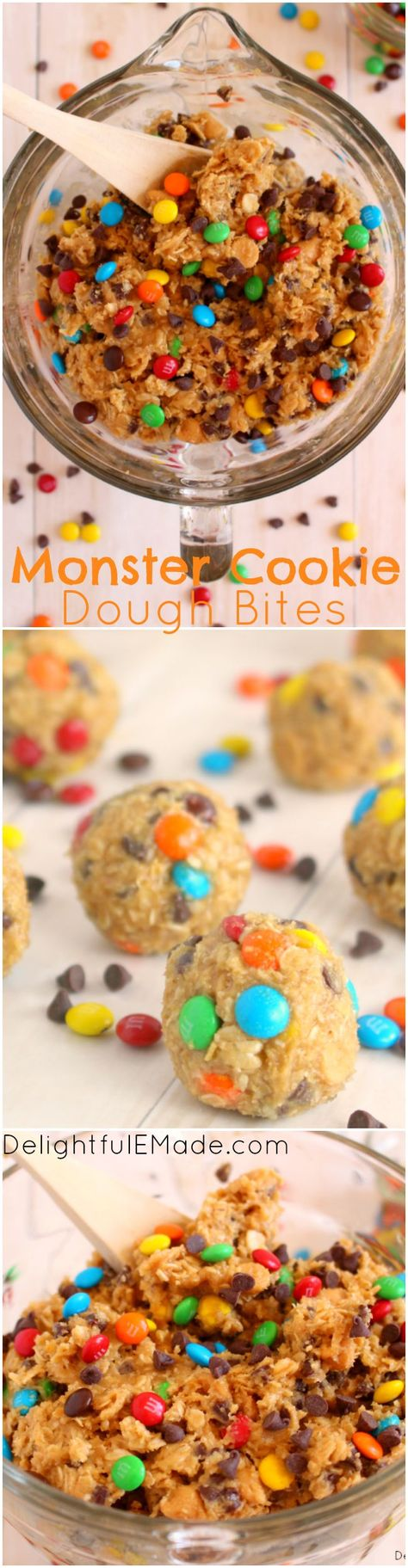 Monster Cookie Dough Bites | Loaded with M&M's, chocolate and peanut butter chips, this cookie dough is egg-free and made to be eaten right out of the bowl, or rolled into balls for the perfect cookie dough treat. No sneaking necessary!