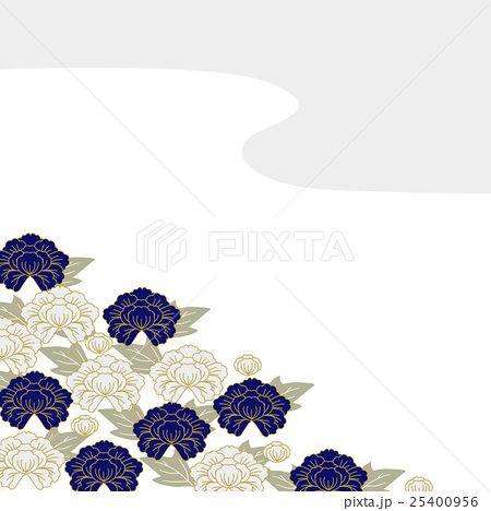 青と白の花 和柄 牡丹 テキスタイル デザイン イラスト 和柄