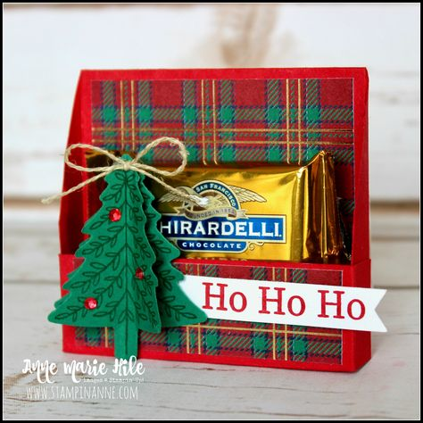 Stampin' Up!® Perfectly Plaid Treat Box - Stampin' Up!® Perfectly Plaid Treat Box Stampin' Up! Christmas Favors, 3d Christmas, Christmas Paper Crafts, Stampin Up Christmas, Christmas Projects, Christmas Wrapping, Handmade Christmas, Treat Holder, Treat Box