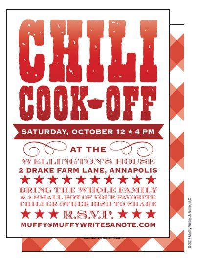 Chili Cook Off Invitation Chili Cook Off Cook Off Invitation Wording