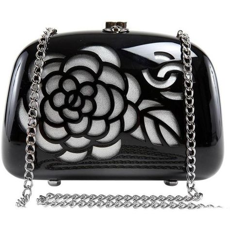 Preowned Chanel Black Resin Camellia Clutch 3 795 Liked On