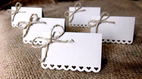 Wedding Place Cards (Set of 50) - Escort Cards - Name Tags - Rustic Shabby Chic - Hearts - Love - Bows - Sandy Beach