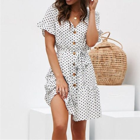 Lossky Women Casual Dress Hot Chiffon Polka Dot Print V-neck Mini Dress Summer Lace Up Button Butterfly Sleeve Dress Plus Size - White / M