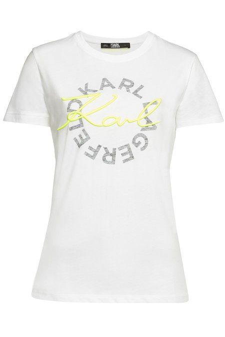 Neon Lights Printed Cotton T Shirt Bold Logo