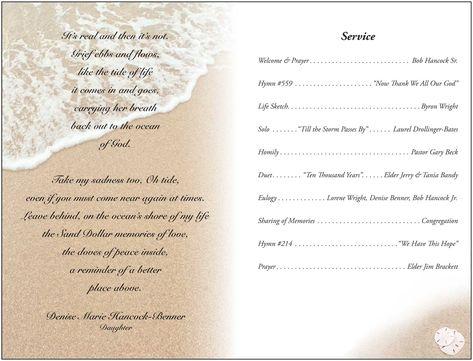 memorial service programs sample Janet Hancock\u0027s Funeral Program