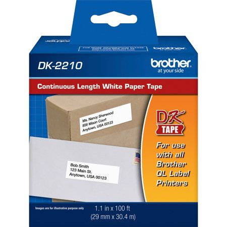 Brother Continuous Paper Label Tape 1 1 10 Inch X 100 Ft Roll White Paper Tape How To Memorize Things Brother Printers