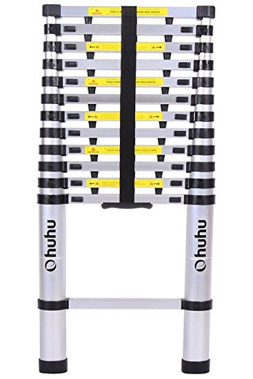 Ohuhu 12 5ft Aluminum Telescopic Extension Ladder En131 Certified Extendable Telescoping Ladder With Spring Telescopic Ladder Best Ladder Multi Purpose Ladder