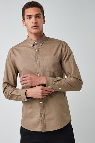 Taupe Long Sleeve Oxford Shirt Shirts