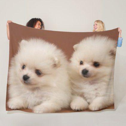 Two White Puppies Fleece Blanket Zazzle Com White Puppies