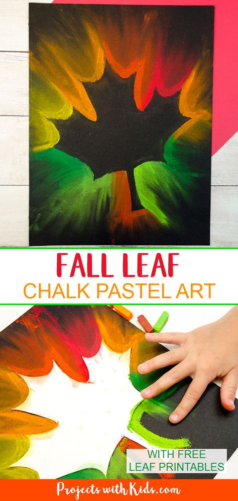 Kids will love making this fall leaf chalk pastel art using all of the gorgeous autumn colors! Use an easy pastel technique that is perfect for kids of all ages. herbst, Gorgeous Fall Leaf Chalk Pastel Art Kids Can Make Chalk Pastel Art, Chalk Pastels, Chalk Art, Fall Crafts For Kids, Kids Crafts, Art For Kids, Art Ideas For Teens, Drawing For Kids, Drawing Art