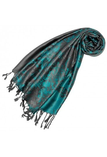 Scarf 100 Modal Turquoise Gray Floral Floral Floral Scarf Turquoise