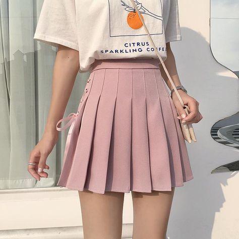 Ribbon Corset Pleated Skirt SD00104 - Pink / L