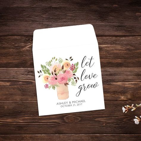 Let Love Grow, Seed Packet Favor, Watercolor #seedpackets #seedfavors #weddingfavors #weddingseedfavor #weddingseedpackets #wildflowers #seedpacket #weddingfavor #seedfavor #bridalshower #seedpacketenvelope #seedpacketfavor #watercolorflowers