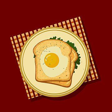 Breakfast Bread And Fried Egg Illustration Breakfast Clipart Breakfast Bread Png And Vector With Transparent Background For Free Download Fried Egg Breakfast Breads Egg Snacks