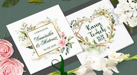Zaproszenia ślubne Rustykalne Kwiaty Koperta W 2018 Zaproszenia