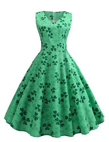 Patricks Day Women Vintage 1950s Retro Shamrock Sleeveless Prom Swing Dress Vintage Dresses for Women,St