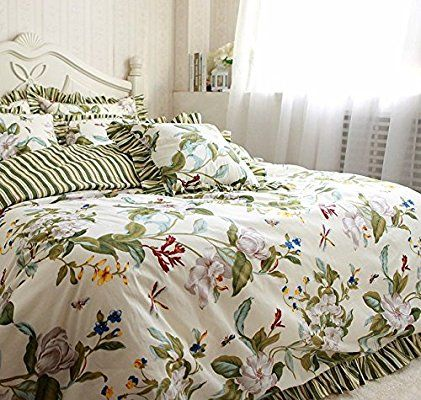 Fadfay Home Textile Vintage Blue Floral Bedding Set Romantic French Country Style Bedding Set 4pcs Amazon Ca Home Ki Floral Bedding Sets Floral Bedding Bed