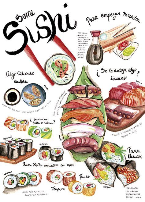 Afiche De Comida Sushi Taller De Dibujo Y Expresion Sushi