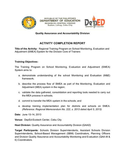 School Monitoring, Evaluation and Adjustment- Activity Completion - accomplishment report format