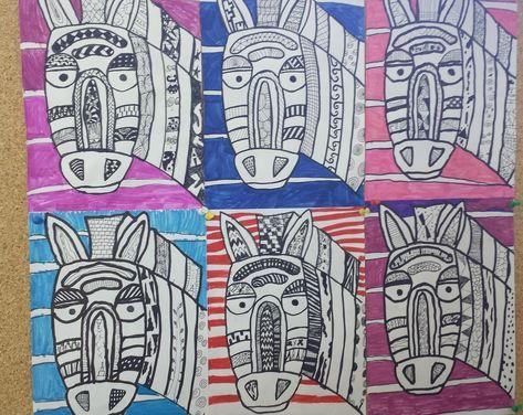 Muster Zebras Kunst Grundschule Zebra Kunst Afrika