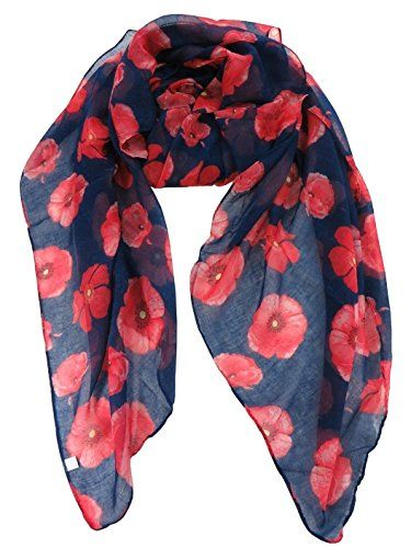 New Big Poppy Print Poppy Floral Pattern Ladies Long Scarf Wrap Sarong