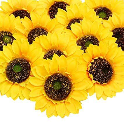 Artificial Sunflower Heads 24 Pcs Silk Faux Sunflowers Yellow Gerber Daisies For Diy Wedding Fall Autumn Part Faux Sunflower Sunflower Head Artificial Flowers