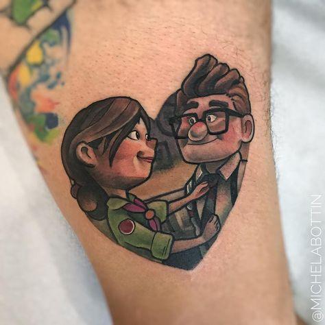 Tatuagem feita por Michela Bottin de Milão.  Tatuagem colorida inspirada no filme Up - Altas Aventuras da Pixar.