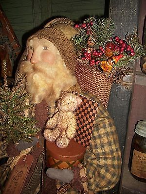 Primitive Santa Claus Doll Collectible antiqued basket Primitive bear , OOAK