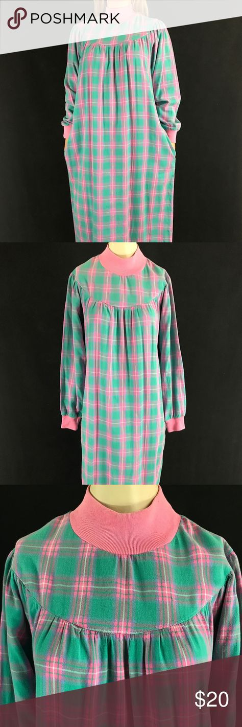 """70s/80s Lanz Salzburg Plaid Flannel Nightgown Late 1970s/Early 1980s Vintage Plaid Flannel Nightgown-Long Sleeve-Full Length-Side Pockets-Made In USA With Love-Size/Fiber Content Tag Is Too Faded To Read Label: Lanz of Salzburg Approximate Measurements Taken Flat  Shoulder To Shoulder: 17"""" Waist: 22"""" Sleeve: 24"""" Hip: 25.5"""" Length: 52.5"""" Condition: Minor snags but other than that, it's in great vintage condition. PLEASE SEE PHOTOS FOR REFERENCE. vintage Intimates & Sleepwear Pajamas"""