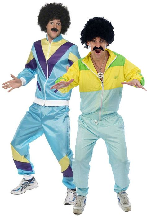 80s Shell Suit Tracksuit Costume Scouser Adult Mens Womens Fancy Dress Outfit