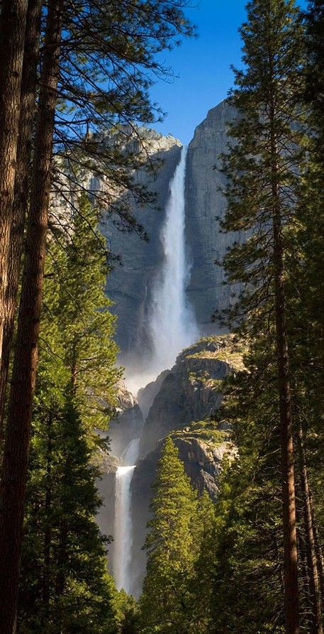 Upper and Lower Yosemite Falls in Yosemite National Park, California